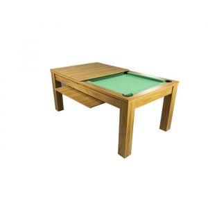 MONTGOMERY Billard Convertible en table à manger 180 cm Bois clair Tapis vert