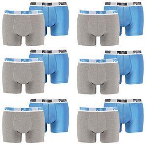 Puma Basic - Boxer - Lot de 2 - Uni - Homme - Bleu/Gris - S (FR: 2)