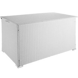 TecTake Coffre de Jardin de Rangement extérieur 950 L en Résine tressée et Aluminium Blanc