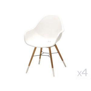 Naterial Lot de 4 fauteuils de jardin St Tropez Blanc - Coque en résine injectée et pieds eucalyptus