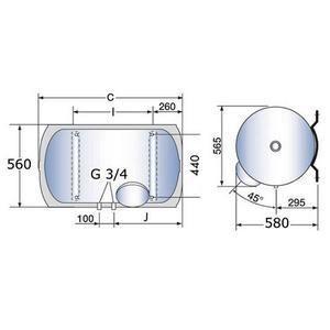 Altech 3010539 - Chauffe-eau horizontal stéatite sortie basse monophasé 150 litres