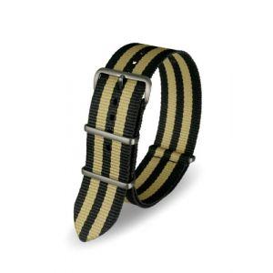 Davis Bracelet Montre Nato Nylon Noir et Sable 22mm Haute Qualité