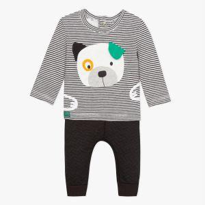 Catimini T-shirt tubique rayé à patch chien et pantalon molleton NOIR - Garçon