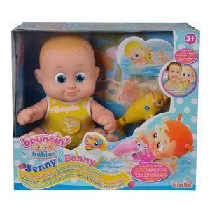 Simba Toys Poupée Bouncin Babies Benny nage avec son dauphin
