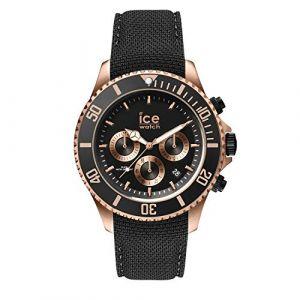 Ice Watch Ice-Watch - ICE steel Black Rose-Gold Chrono - Montre noire pour homme avec bracelet en silicone - Chrono - 016305 (Large)