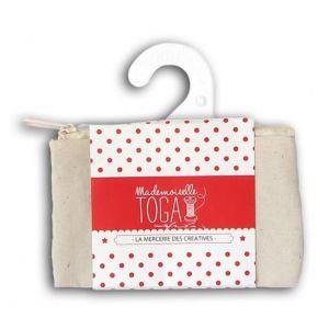 Toga Mademoiselle - Trousse plate à zip - Blanc cassé - 12 x 7,5 cm