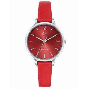 Go Girl Only Montre Go Girl Only 699942 - Boîtier Acier Argent Bracelet Cuir Rouge Cadran Rouge Femme