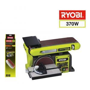 Ryobi Pack Ponceuse à bande et à disque stationnaire 370W RBDS4601G - 5 bandes abrasives 100 x 914mm grain 80 BSS100A5