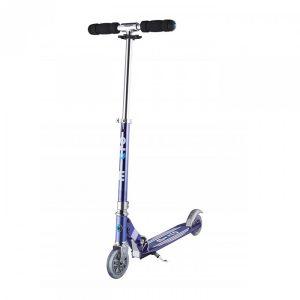 Image de Micro Mobility - Trottinette Sprite Bleu Saphir Gris Rayé - Trottinette Enfant compacte et Pliable - Apprentissage de l'équilibre - À partir de 6 Ans