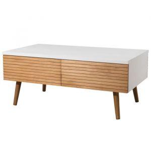 Table b e scandinave miel et blanc brillant + pieds bois pin m if L 90 x l 50 cm