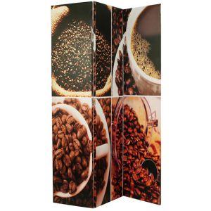 Pegane Paravent en toile motif Coffee de 3 pans -