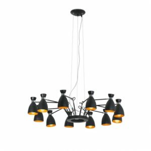 Faro 20048 - Suspension Retro-Noir et Or 12 Lampes