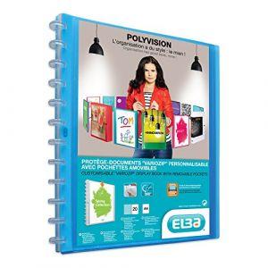 Elba 100205599 - Protège-documents Polyvision VarioZip A4, 20 pochettes amovibles, couverture bleu translucide