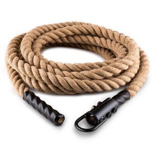 Klarfit Power - Rope avec crochets 15m 3,8cm corde de chanvre fixation plafond