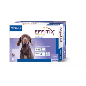 Virbac Effitix Spot On moyen chien 10-20 kg 4 pipettes