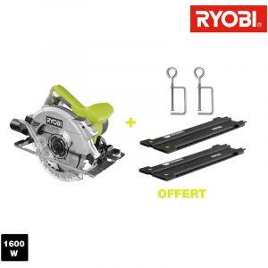 306d2b911b21c8 Ryobi Scie circulaire 1600W 66mm - guide de coupe 122 cm - 2 serre joints  RCS1600