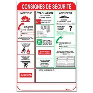Taliaplast 620001 - Consignes de sécurité Incendie Evacuation Accident