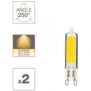 Xanlite Pack de 2 ampoules RetroLED, culot G9, 3,7W cons. (450 lumens), lumière blanche chaud