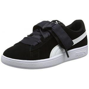 Puma Smash V2 Ribbon AC PS, Sneakers Basses Mixte Enfant, Noir Black White, 28 EU