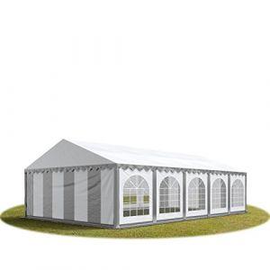 Intent24 TOOLPORT Tente Barnum de Réception 5x10 m ignifugee PREMIUM Bâches Amovibles PVC 500 g/m² gris-blanc Cadre de Sol Jardin.FR
