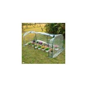 Homcom Serre de jardin tunnel tente bâche en PVC transparent tube en acier 2 x 1 x 0,80 m
