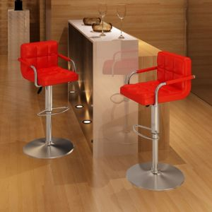 VidaXL Lot de 2 Tabourets de bar rouges avec accoudoirs