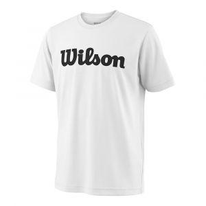 Wilson Unisexe T-Shirt de Sport, Y Team Script Tech Tee, Polyester, Blanc/Noir, Taille S, WRA770701