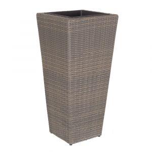 Lynco Cintre Pot de Jardin Rotin PE TAUPE 42 X 42 X 90 cm