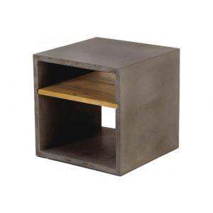Zago Cube de rangement béton et acacia 40X40 cm gris foncé Hermitage