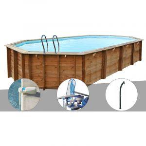 Sunbay Kit piscine bois Sevilla 8,72 x 4,72 x 1,46 m + Alarme + Kit d'entretien + Douche