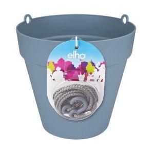 Loft URBAN Pot de fleur à suspendre - Ø20 cm - Bleu vintage - Réservoir d'eau - Balustrades jusqu'à 6 cm de large - Charge maximale 4 kg - Recyclables - Résistant au gel