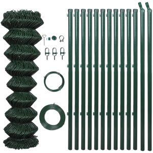 VidaXL Grillage vert 1 x 25 m avec poteaux et tous les accessoires