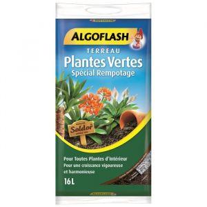 Algoflash Terreau Plantes Vertes Spécial Rempotage - 16L - Terreau de qualité, complet et équilibré, spécialement destiné au rempotage des plantes vertes - 16L.