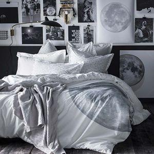 Essix Housse de couette 100% percale de coton motif lune et étoile PLEINE LUNE 260x240cm
