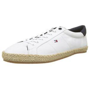 Tommy Hilfiger Textile Lace Up Espadrille, Sneakers Basses Homme, Blanc (White 100), 45 EU