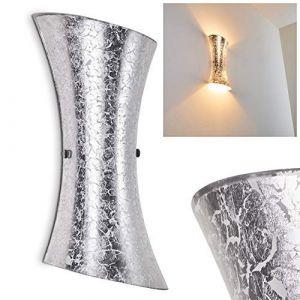 Hofstein Applique murale Rivoli en verre argenté élégant luminaire moderne pour salon, chambre, couloir, entrée