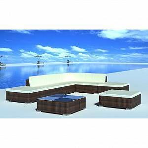 VidaXL Salon de jardin 20 pièces marron en polyrotin