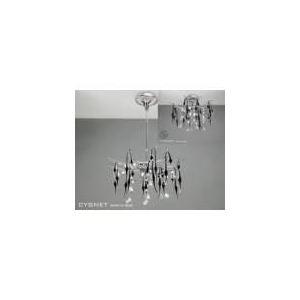 Diyas Suspension Cygnet 12 ampoules en métal chromé, cristal et verre