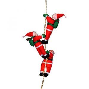 3 Père Noël grimpeurs avec cordons lumineux 54 LED