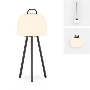 Alice's Garden Lampe extérieure LED 3 en 1 – TRIPADA S – Lampe extérieure en plastique, Ø22cm rechargeable, à suspendre, avec trépied 35cm et corde