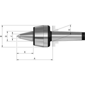 Rohm Pointe tournante à pointe allongée n° 604 HVL, Taille : 108, MK 4, A 114,5 mm, B : 68,5 mm, D : 32 mm, G : 31,267 mm, K : 53 mm, J : 14 mm