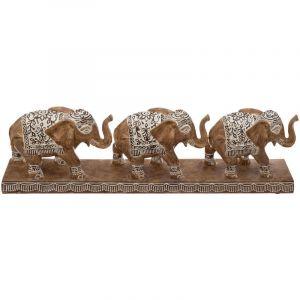 """Atmosphera Statue Déco en Résine """"3 Éléphants"""" 46cm Naturel"""