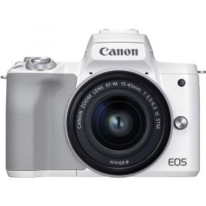 Canon Appareil photo hybride EOS M50 Mark II Blanc + EF-M 15-45mm f/3,5-6,3 IS STM