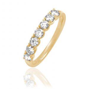 Histoire d'Or Demi-alliance en or 750 ornée de diamants - doré