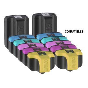 12 Cartouches d'encre (noire, jaune, cyan, cyan clair, magenta et magenta clair) compatibles HP 363XL