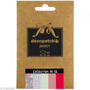 decopatch DP012O - Déco Pocket n°12 : 5 feuilles 30x40 cm, motifs 646, 648, 650, 647, 249