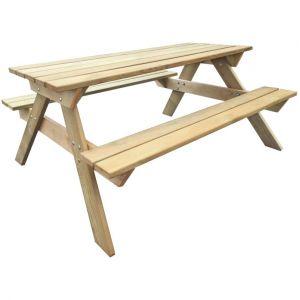 VidaXL Table de pique-nique en bois 150 x 135 x 71,5 cm