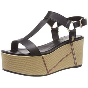 Tommy Hilfiger Elevated Leather Fla - Sandales et nu-pieds Femme, Noir