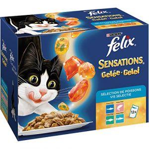 Felix Sensations en Gelée Repas pour Chat Adulte Poissons 12 x 100 g