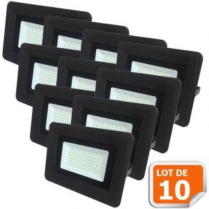 Lampesecoenergie Lot de 10 LED Projecteur Lampe 100W Noir 6000K IP65 Extra Plat